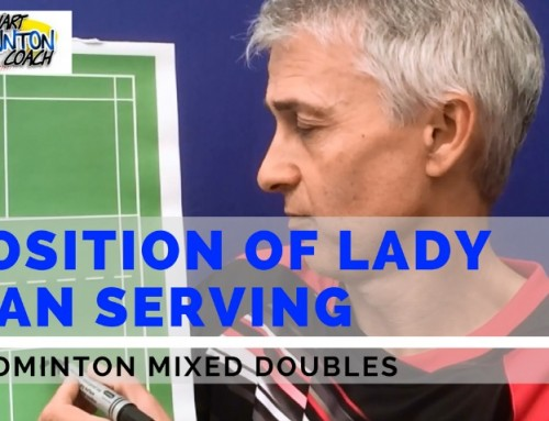 Where Should The Lady Stand When Her Partner Is Serving In Badminton Mixed Doubles?