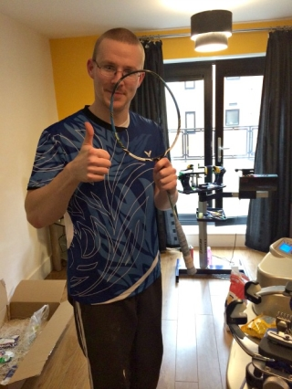 Mark ready to string Shin Baek Choels racket